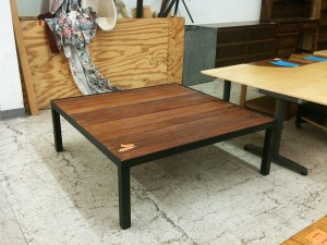 custom built redwood metal steel patio table